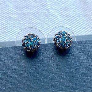 Blue Crystal Pave Ball Earrings